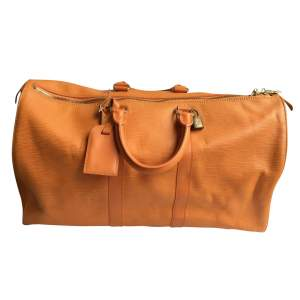 Keepall orange leather Travel Bag-0