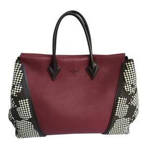 Burgundy and mocha leather Bag-0