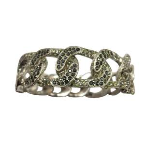 White metal and rhinestone collector Bracelet-0