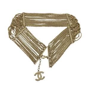 Multi chain belt in pale gold Metal-0
