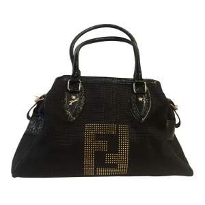 Canvas and black patent leather Handbag-0