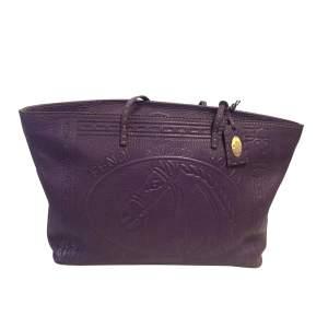 Purple grained leather tote Handbag-0
