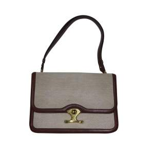 Vintage Linen Bag with Leather Border-0
