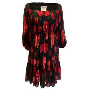 Vintage red and black floral 1994 Dress-0