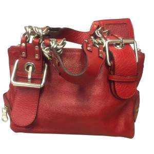 Red grained leather Bag-0