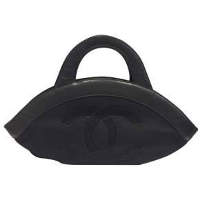 Vintage Black leather CC Handbag-0