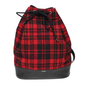 Tweed and Black leather Backpack-0