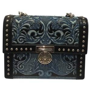 Black leather and fabric shoulder Bag-0