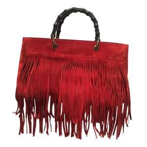 Red suede fringe Bag-0