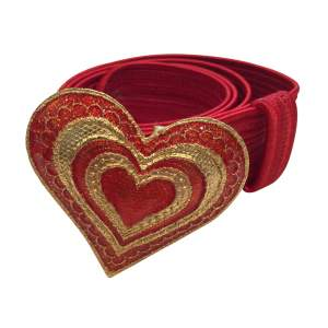 Vintage 1990s red fabric Belt-0