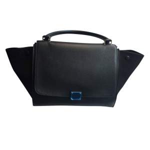 Black leather and suede Handbag-0