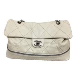 White and silver metal Handbag-0