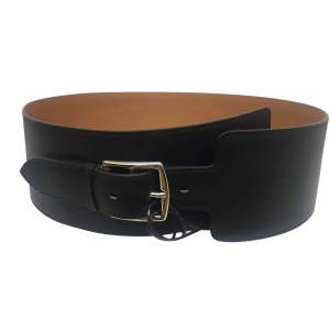 Wide black leather Belt-0