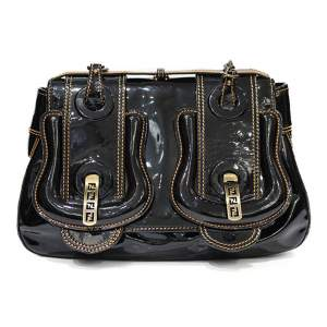 Black varnish leather Handbag-0