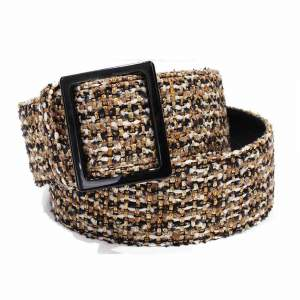 Gold, white and black tweed Belt-0