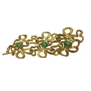 Gold metal and green stone Bracelet-0