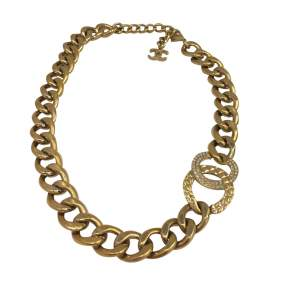 Gold metal and rhinestones Necklace -0