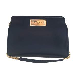 Black leather Handbag-0