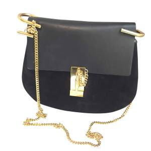 Black leather and suede Handbag-0