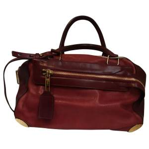 Two-tone red and burgundy leather Handbag -0