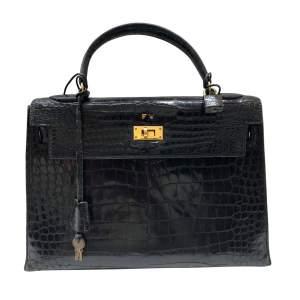 Vintage Black crocodile Kelly -0