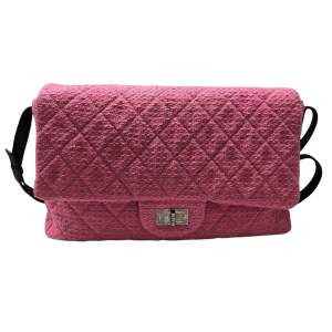 Large tweed pink leather Bag-0