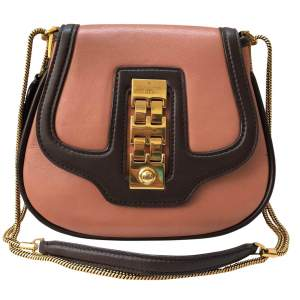 Pink and brown leather Bag-0