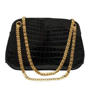 Small black crocodile Bag-0