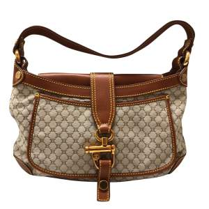 Gold leather monogram canvas Bag -0