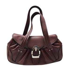 Brown grained leather Handbag-0
