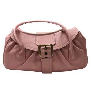 Large pink grained leather Handbag-0