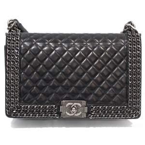 Black leather Boy Bag-0