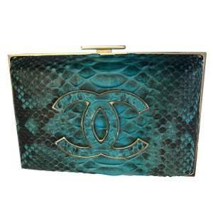 Turquoise python Clutch-0