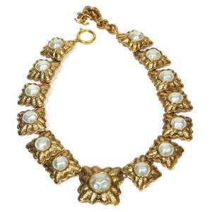 Vintage gold and pearl Necklace-0