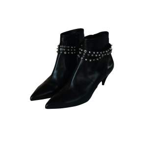 Leather studded ankle boots -0