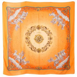 "Large Orange Cosmos Cashmere Silk Shawl 55''X 55""-0"