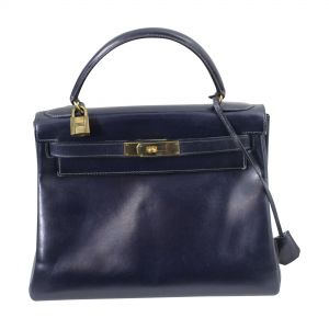 Awesome Vintage Kelly 28 Navy Bag-0