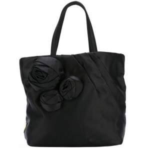 Vintage Black Satin Evening Tote Bag-0