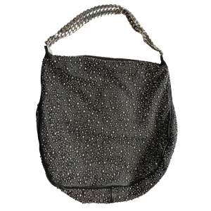 Black  Leather Handbag with Silver Studs-0