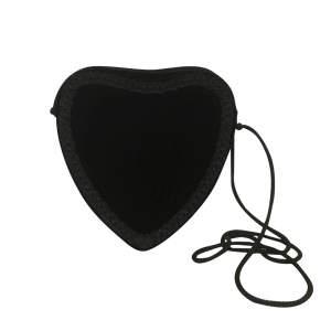 Vintage Heart-Shaped Bag in Black Velvet-0