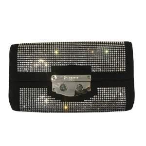 Swarovski crystal covered black suede clutch-0