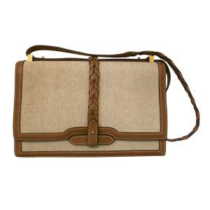 Vintage Leather and Canvas Handbag-0