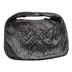 Black Leather Basket Weave Handbag-0