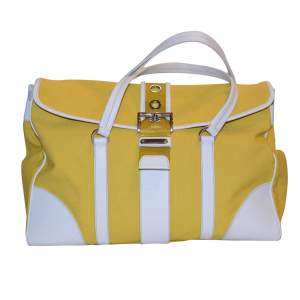 Yellow canvas and white leather Bag-0