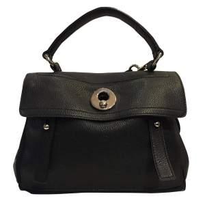 Black leather hand bag-0