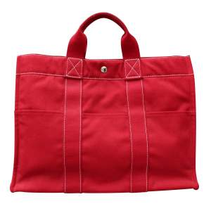 "Hermès red canvas ""Toto"" bag-0"