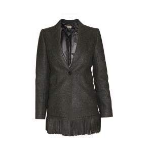 Mid length fringed wool Jacket -0