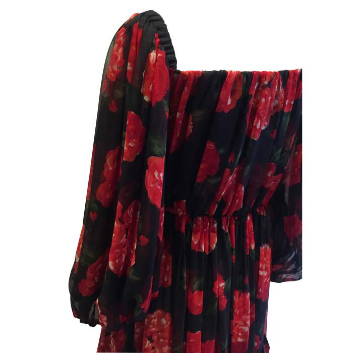 Vintage red and black floral 1994 Dress-4