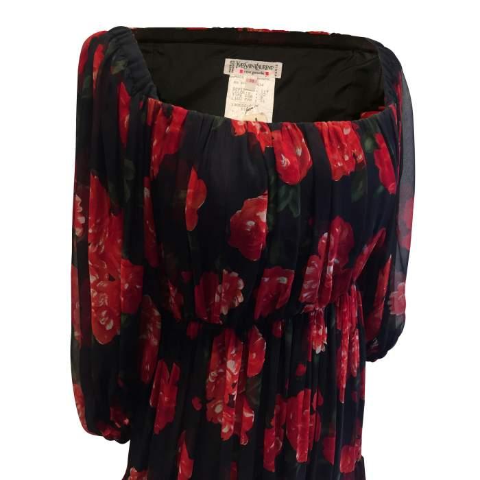 Vintage red and black floral 1994 Dress-6