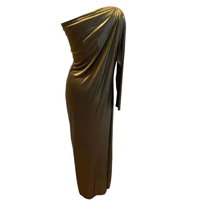 Vintage golden long summer 1987 Dress-2